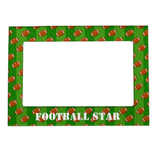 Fun Novelty Football and Green Grass Pattern Magnetic Picture Frame