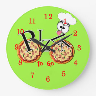 Fun Novelty Pizza To Go Large Clock