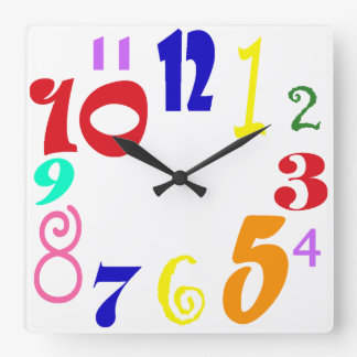 Fun numbers - multicoloured funky numbers on white square wall clock
