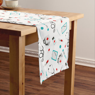 Fun Nurse equipment pattern party table runner