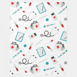 Fun Nurse Medical pattern tiled fleece blanket