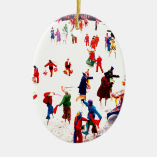 Fun on the ice, Chinese stilt dancing Christmas Ornament