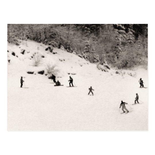 Fun on the ski slopes postcard