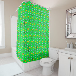 Fun Orange and Blue Heart Pattern on Lime Green Shower Curtain