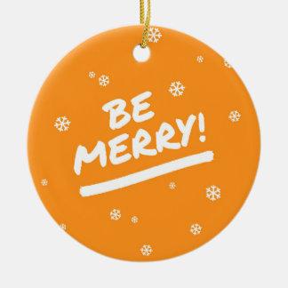 Fun Orange Be Merry Marker Pen Holiday Snowflakes Round Ceramic Decoration
