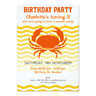 Fun orange crab on a sandy seashore party 13 cm x 18 cm invitation card