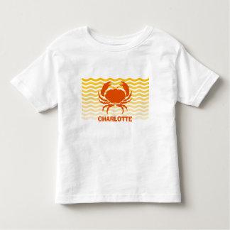 Fun orange crab on the sandy seashore toddler T-Shirt