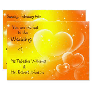 Fun Orange Hearts Design Wedding Invitation