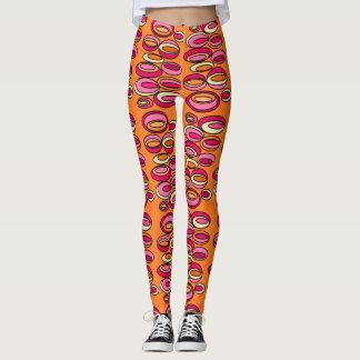 Fun Orange Pink & Yellow Looped Oval Leggings