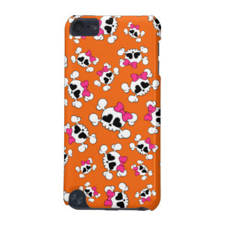 Fun orange skulls and bows pattern iPod touch 5G cases