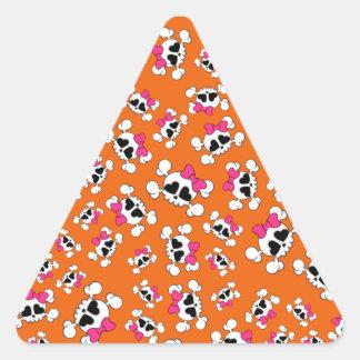 Fun orange skulls and bows pattern sticker