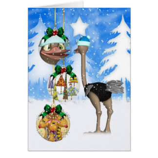 Fun Ostrich Christmas Card - Merry Christmas