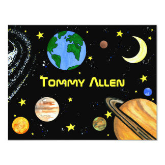 Fun Outer Space Note Card 11 Cm X 14 Cm Invitation Card