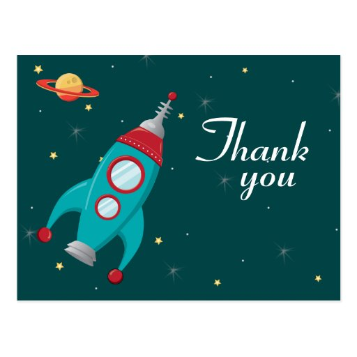 Fun Outer Space Rocket Birthday Thank You Postcard Zazzle