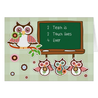 Fun Owl Design Teacher Appreciation Week Cards