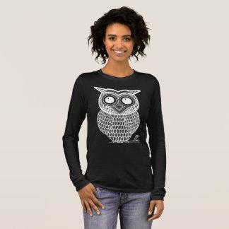 Fun Owl on a Dark Background Long Sleeve T-Shirt