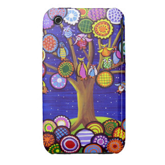 Fun Owls Tree Blossoms Folk Art Cell Case Case-Mate iPhone 3 Case