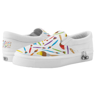 Fun Painting lovers brush pattern womens shoes