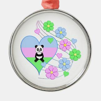 Fun Panda Heart Christmas Ornament