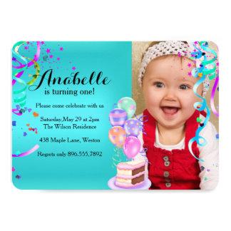 Fun Party Celebration First Birthday Teal 11 Cm X 16 Cm Invitation Card