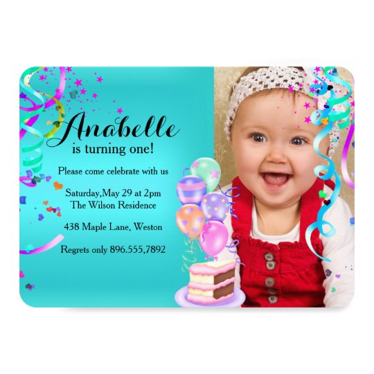 Fun Party Celebration First Birthday Teal Card
