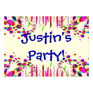 Fun Party Name Card With Colorful Confetti Pack Of Chubby Business Cards