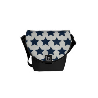 Fun Patriotic Navy Blue Stars 4th of July Pattern Courier Bag