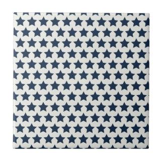 Fun Patriotic Navy Blue Stars 4th of July Pattern Ceramic Tile