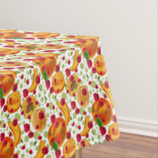 Fun Peaches and Cherries fruit kitchen tablecloth