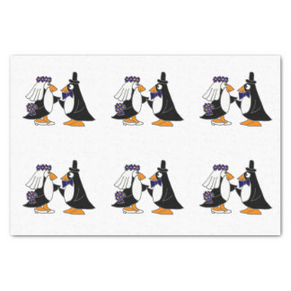 Fun Penguin Bride and Groom Wedding Tissue Paper