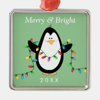Fun Penguin Merry and Bright Square Metal Christmas Ornament