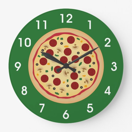Fun Pepperoni and Veggie Pizza Large Clock