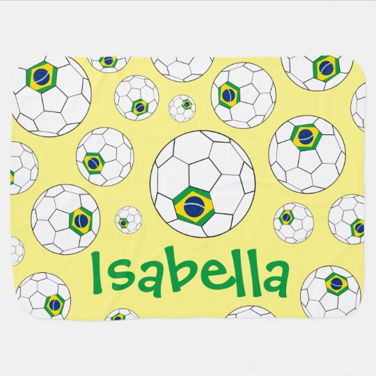 Fun Personalised Random Pattern Brazil Soccer Ball Baby
