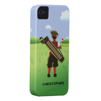 Fun Personalized Golfer on golf course iPhone 4 Cases