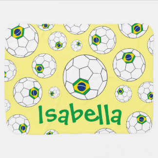 Fun Personalized Random Pattern Brazil Soccer Ball Baby Blanket