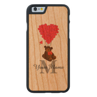 Fun personalized romantic teddy bear carved cherry iPhone 6 case