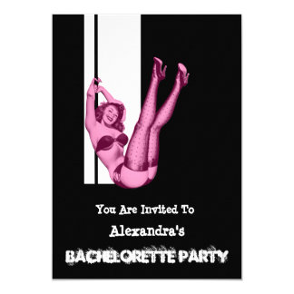 Fun pin up girl personalized bachelorette party 13 cm x 18 cm invitation card