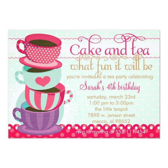 Fun Pink and Blue Cute Cups Tea Birthday