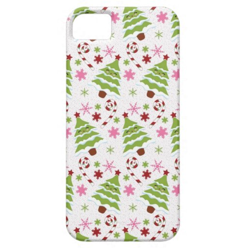Fun Pink and Green Christmas Tree and Candy Canes iPhone 5 Cases