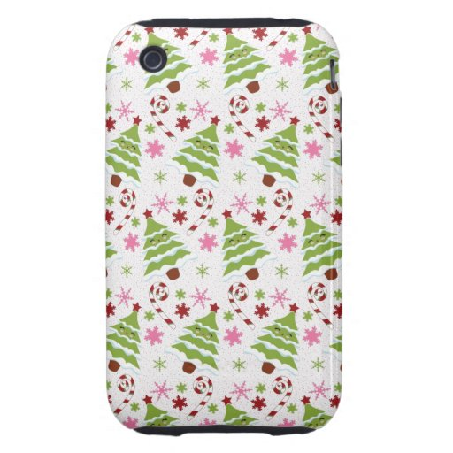 Fun Pink and Green Christmas Tree and Candy Canes iPhone 3 Tough Cases