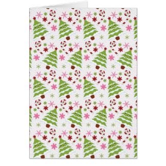 Fun Pink and Green Christmas Tree and Candy Canes Greeting Card