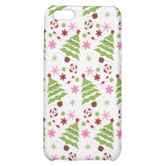 Fun Pink and Green Christmas Tree and Candy Canes iPhone 5C Cover