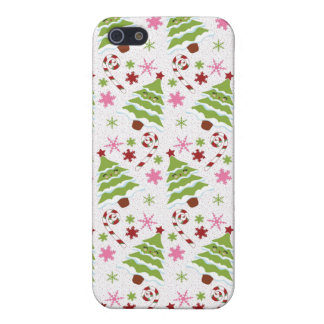 Fun Pink and Green Christmas Tree and Candy Canes Covers For iPhone 5