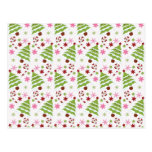 Fun Pink and Green Christmas Tree and Candy Canes Postcards