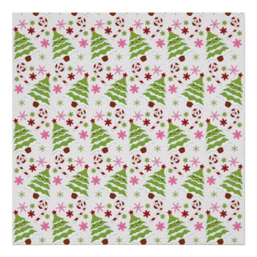 Fun Pink and Green Christmas Tree and Candy Canes Posters