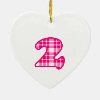 Fun Pink and White Plaid Number 3 THREE A19 Ceramic Heart Decoration