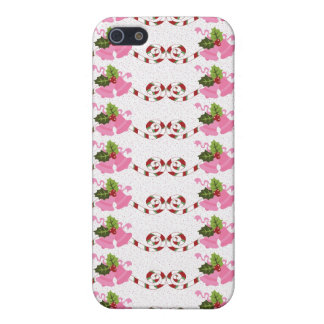 Fun Pink Christmas Bells and Candy Cane Scroll iPhone 5 Covers