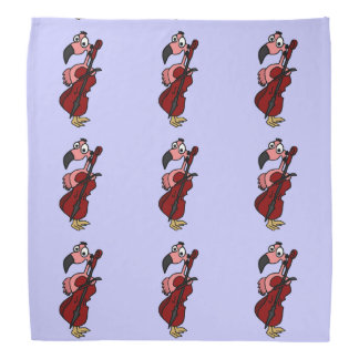 Fun Pink Flamingo Playing the Cello Bandana