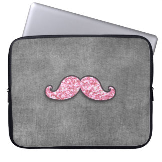 FUN PINK GLITTER MUSTACHE GREY CHALKBOARD LAPTOP SLEEVE