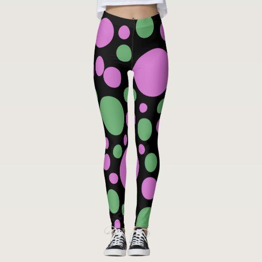 Fun Pink Green Polka Dots on Black Leggings